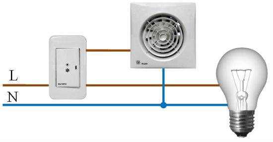 Схема подключения вентилятора к выключателю