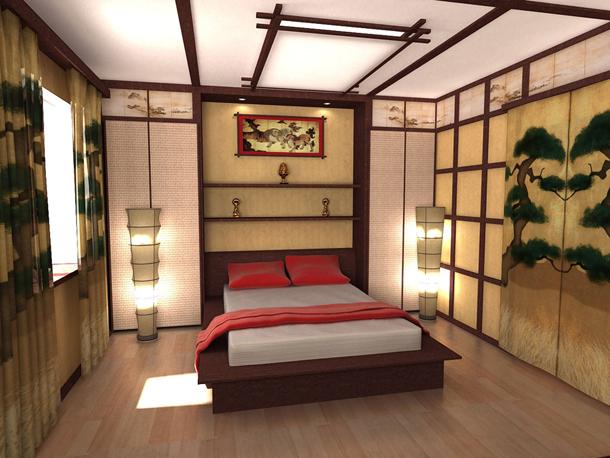 Потолок в спальне с японским стилем интерьера