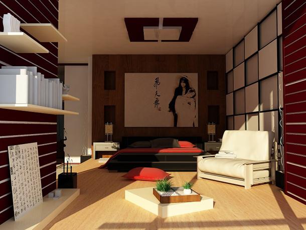 Спальня в японском стиле - отделка помещения