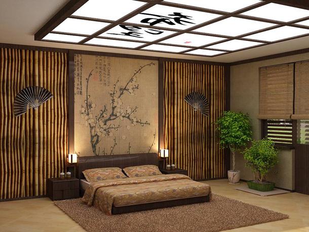 Спальня в японском стиле - отделка стен