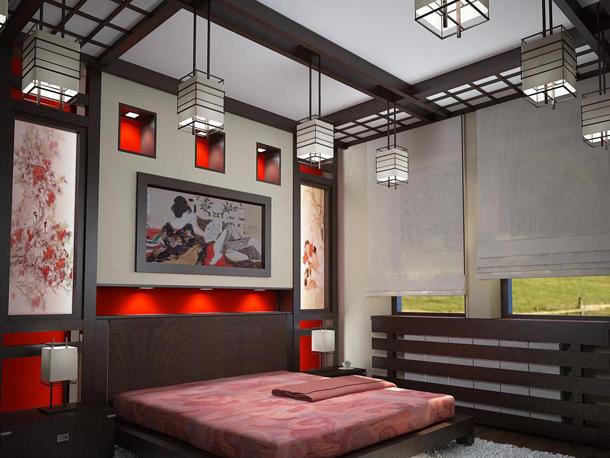 Освещение спальни с японским стилем интерьера