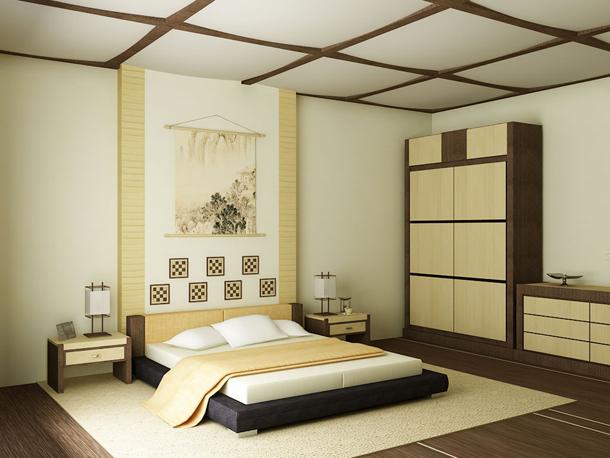 Общий интерьер спальни с японским стилем