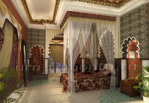 Дизайн интерьера спальни в марокканском стиле