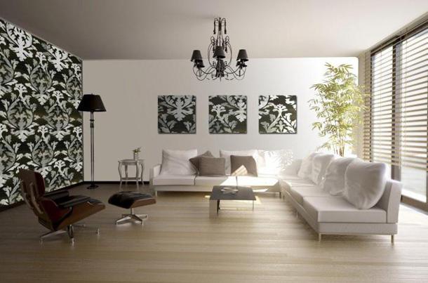 Как подобрать черно-белые комбинированные обои в гостиную