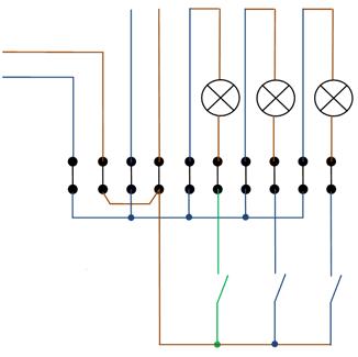 Схема распределительной коробки во втором коридоре