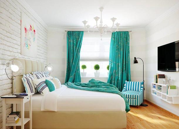 Как подобрать контрастные шторы для спальни